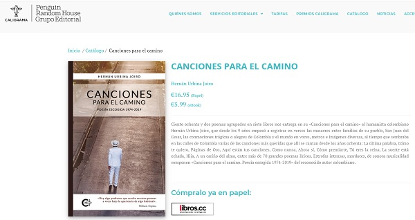 """1 Sale en España """"Canciones para el camino"""" de Hernán Urbina"""