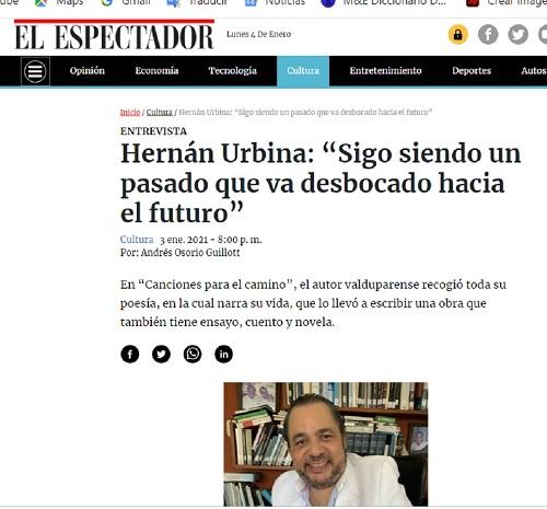 Hernán Urbina Joiro entrevista El Espectador Enero 2021