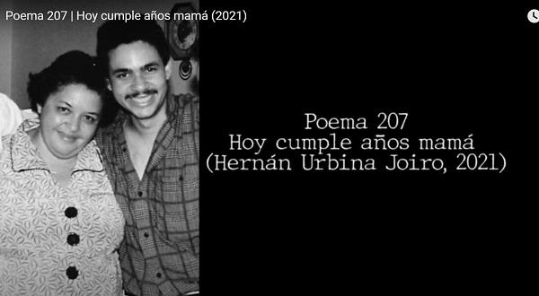 Hernán Urbina Joiro Poema Hoy cumple años mamá 16 agosto